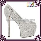Shining white crystal diamond studded shoes / open toe high heel platfroms