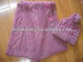 semplice personalizzati beanie cappello lavorato a maglia e sciarpa rosa per le femmine
