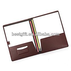 Top soft leather folding file folder pockets document card holder case