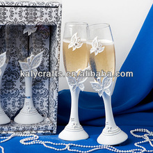 new & hot sale butterfly decorated polyresin crafts champagne glass