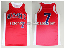 cheap custom sublimated red basketball jersey with racer back