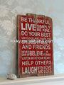 Boas palavras vintage parede de madeira do ofício da arte, placa de madeira parede com provérbios