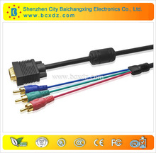 China factory manufacturer 1080p gold plated vga to tv converter s-video rca out cable adapter