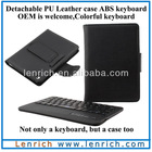 LBK126 Mini Bluetooth Keyboard for Tablet PC with Leather Case,Detachable Magnetic Bluetooth Keyboard for iPad Mini