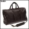 Classical design dark brown leather duffel bag