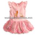 2013 novo design de moda infantil vestido com laço borda flores