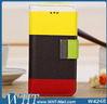 Three Color Mix Match Wallet Leather Case For iPhone 5C