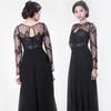Vietnam high quality black lace long sleeve evening dress