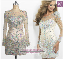 AEL3374 Sexy Illusion Neckline Short Sheath V Back Satin Tulle Heavy Stones Beaded Long Sleeve Real Picture Of Evening Dress