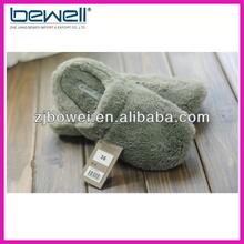 Grey women winter fleece slippers