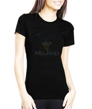 Popular Hip Hop Woman Summer Cotton T-shirt with Rhinestone Design