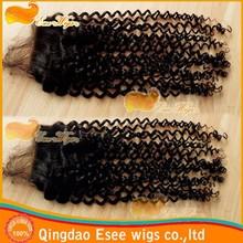 HOT! curly closure peruvian virgin hair lace frontal closure 3.5X4 natural color 120% density free shipping