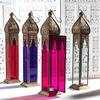 DECORATIVE MOROCCAN LANTERN WITH COLORED GLASS