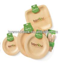 Bamboo Disposable Tableware Round Veneerware Plates
