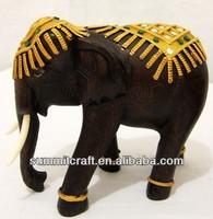 Thailand antique teak wood elephant carving