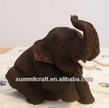 Thailand handmade teak wood elephant carving home decoration
