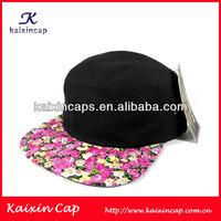 OEM Wholesale Custom 5 Panels Camper Hat/Cap Flower Pattern Cotton Crown Digital Printing Peak Cap/Hat Trendy Design