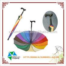 "23"" high quality vintage style rainbow walking stick umbrella"