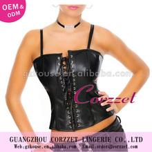 Black Leather Corset Top Strap Tie Wholesale Factory