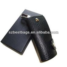 Black genuine leather car key holder/case for gifts