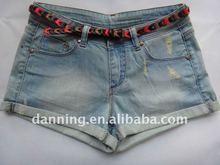 ladies washing denim hot shorts with belt