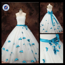 New Arrival Wholesale 2014 Elegant Sexy Sheath A-line With China Blue Sash And Bow Bridal Wedding Gown WA00087