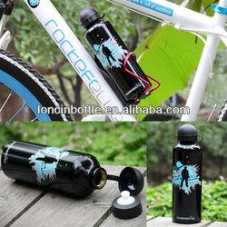 bpa free black aluminum sports bottle with Twist cap with carabiner,black 750ml Aluminum Alloy Water Bottle