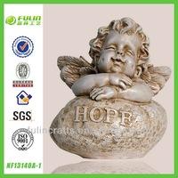 Wholesale Angel Figurine Stone Sitting Cupid Wing Resin Baby Souvenir