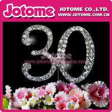 rhinestone Monogram Silver Arabic Numerals 30 Crystal Diamante Rhinestone Cake Topper For Birthday Cake