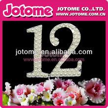 Crysta rhinestonel bead del monograma número 12 de la boda de la torta con la perla, Diamantes de imitación de cumpleaños cake toppers