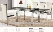 L808F-13 Knock Down 6 Seaters Solid Glass Modern Dinning Table Chairs Glass Dinning Sets Dinning Room Table and Chairs