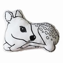 Cute baby deer cushion deer fawn shaped whimsical woodland cushion