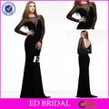 w110 nuevo vestido de noche para la mujer sexy de encaje con manga larga negro vestido formal