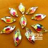 100%good quality crystal ab color leaf shape 9-20mm crystal diamond.Fashion shiny crystal fancy sew on stones for clothing