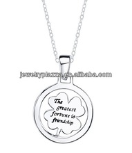 Silver 'The Greatest Fortune is Friendship' Round Clover Necklace