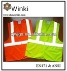 2014 Top Sell 20% Cotton and 80% Polyester Material Reflective Vest With Three High Visibility Strips