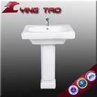 Washroom toilet basin set wc ceramic basin white sanitary ware sink pedestal