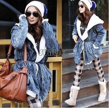 2014 New Women's Down Parka Outerwear Winter Warm jeans Denim Coat fleece Hooded Jacket wadd ...