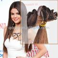 Amostra grátis 100% brasileira virgem grampo na extensão do cabelo