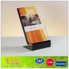 New Black Acrylic Tri-Fold Desktop Brochure Display Stand /Customized Acrylic Zig Zag Brochure Stand