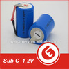NI-CD Sub C 2500mah rechargeable battery 1.2v for cordless drill,power tool