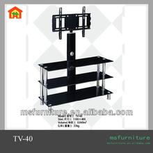 TV-40 three-shelf promotion TV stand focus satellite dish TV chrome and glass TV stand