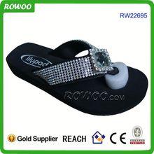 Girls Black Wedge Flip Flops with Diamond Strap