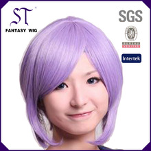 11'' purple short Newest Japanese anime synthetic cosplay wigs for girls