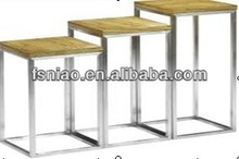 side pedestal set ash veneer MDFwood stainless steel high-leg
