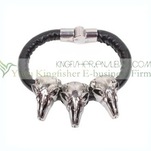 2014 New skull head stainless leather magnetic bracelet for man!! Top quality bulk sale stainless leather magnetic bracelet!!
