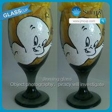 Casper friendly ghost white yellow stars wine martini champagne hand painted glass moon halloween christian colored wine glass