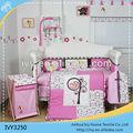 2014 yeni tasarım 100% pamuk nakış bebek yatak seti/bebek beşik yatak seti toptan
