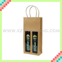 2 Bottles packed high quality kraft paper cheap wine bag