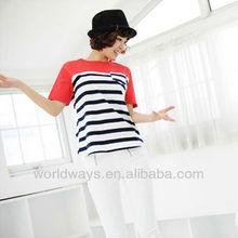 Womens regular short sleeve cotton spandex slim fit striped t shirts